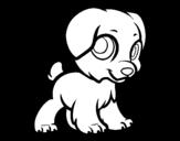 Happy puppy coloring page