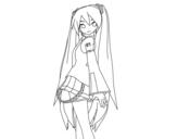 Hatsune Miku vocaloid coloring page