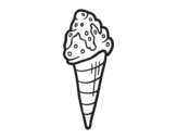 Ice cream cornet with topping coloring page