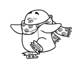 Ice skating penguin coloring page