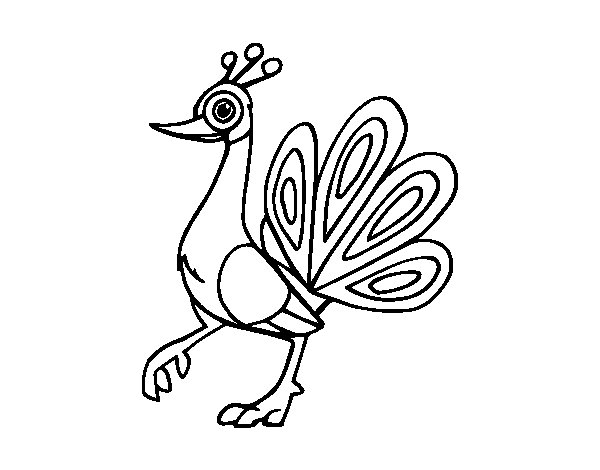 Indian peafowl coloring page