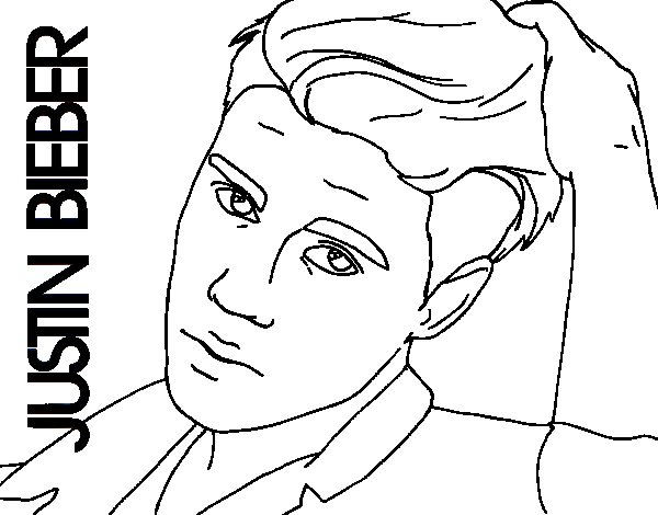 Justin bieber close up coloring page for Justin bieber coloring pages