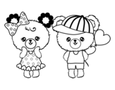 Kawaii bears in love coloring page