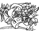 Kick ninja coloring page