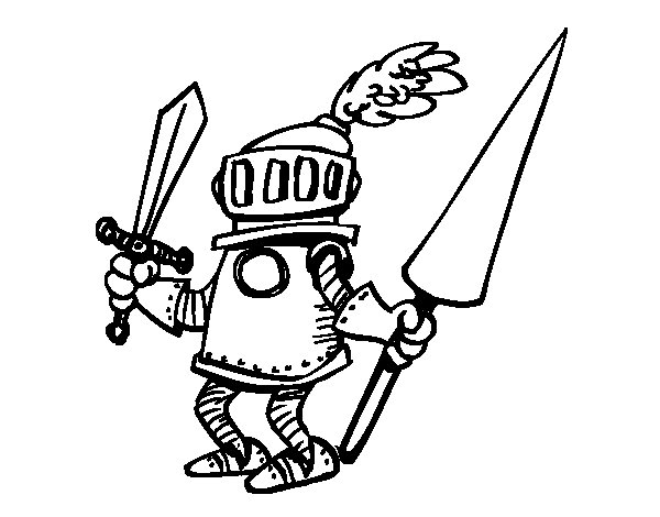 Knight With Sword And Spear Coloring Page