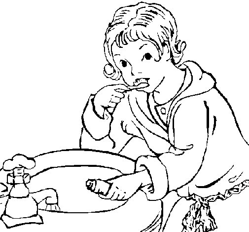 Little Boy Brushing His Teeth Coloring Page