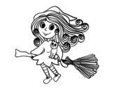 Little Witch with broom  coloring page