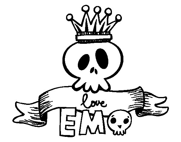 emo heart coloring pages | Love Emo coloring page - Coloringcrew.com
