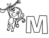 M of Monkey coloring page
