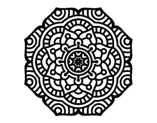 Mandala conceptual flower coloring page
