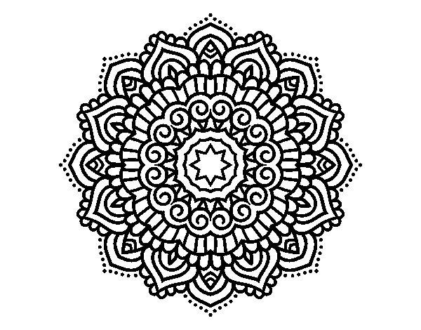 Mandala decorated star coloring page