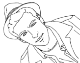 Mario Casas with hat coloring page