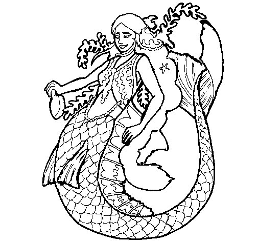 Mermaid with long hair coloring page