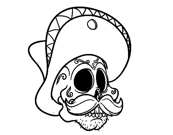 Mexican skull with moustache coloring page - Coloringcrew.com