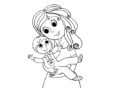 Mom with her son coloring page