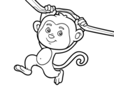 Monkey hanging from a branch coloring page