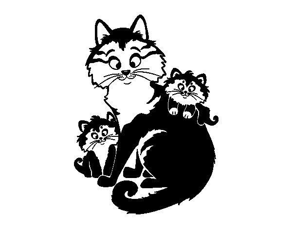 Mother Cat And Kittens Coloring Pages Mother Cat And Kittens