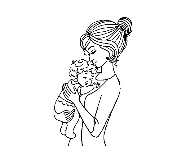 Y Love You Mama Kleurplaat Mother Taking The Baby Coloring Page Coloringcrew Com