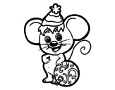 Dibujo de Mouse with Christmas Hat