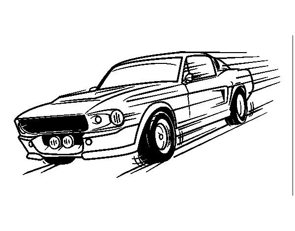 Mustang retro style coloring page