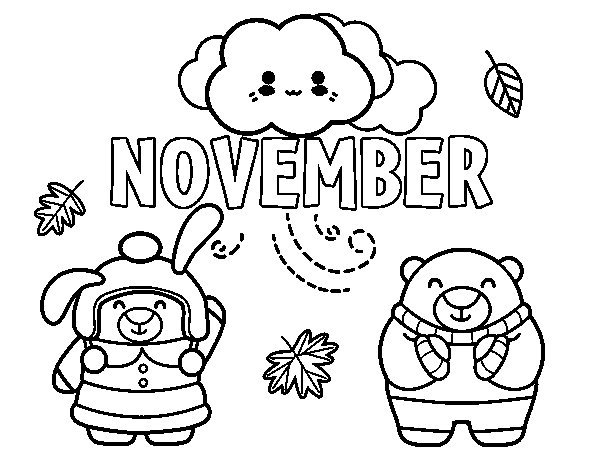 November Coloring Page Coloringcrew Com November Coloring Page