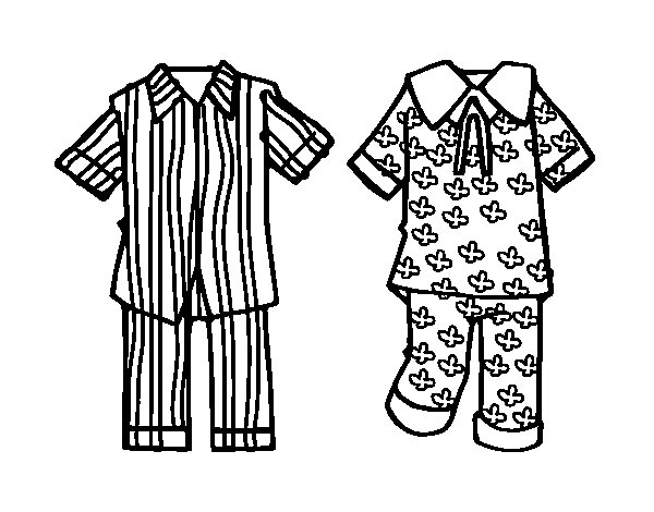 Pajamas coloring page