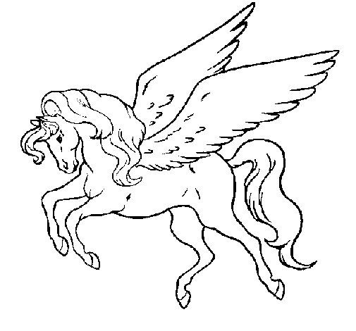 Flying pegasus coloring pages
