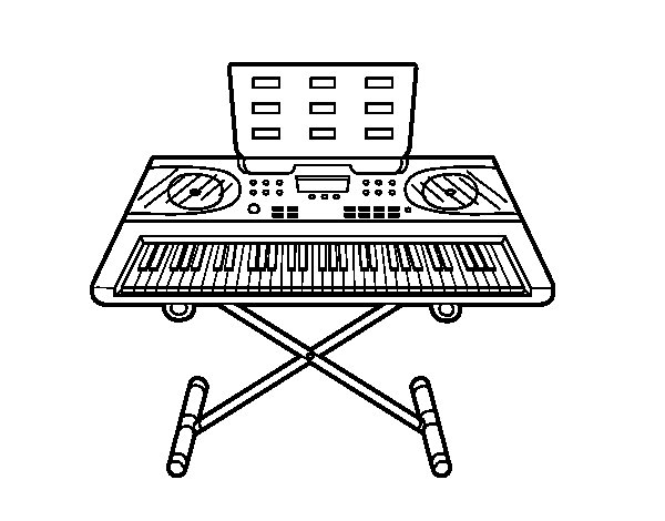 electric keyboard piano coloring pages