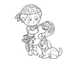 Pirate boy with his dog coloring page