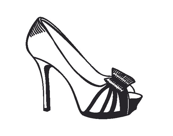 Platform shoe with bow coloring page