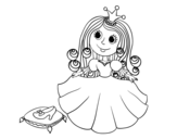Princess and glass slipper coloring page