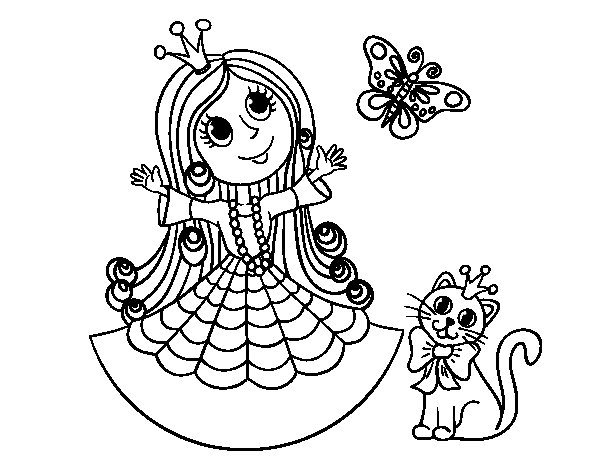 Princess With Cat And Butterfly Coloring Page Butterfly Princess Coloring Pages Free Coloring Sheets