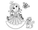 Princess with cat and butterfly  coloring page