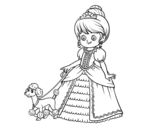 Princess with puppy coloring page