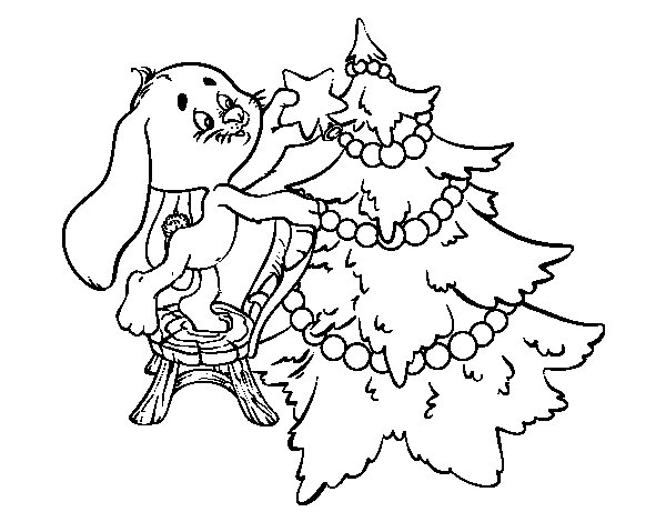 Rabbit Decorating Christmas Tree Coloring Page Decorate A Tree Coloring Page