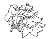 Rabbit decorating Christmas tree coloring page