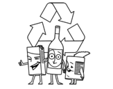 Recycling cuns   coloring page