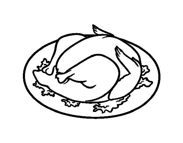 Roasted chicken coloring page for Chicken food coloring pages