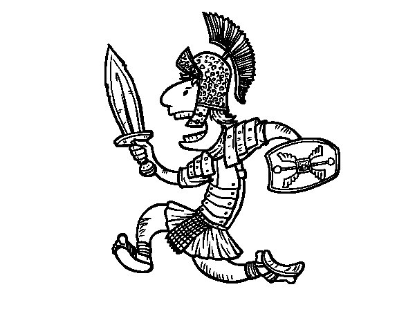 Roman soldier attacking coloring page