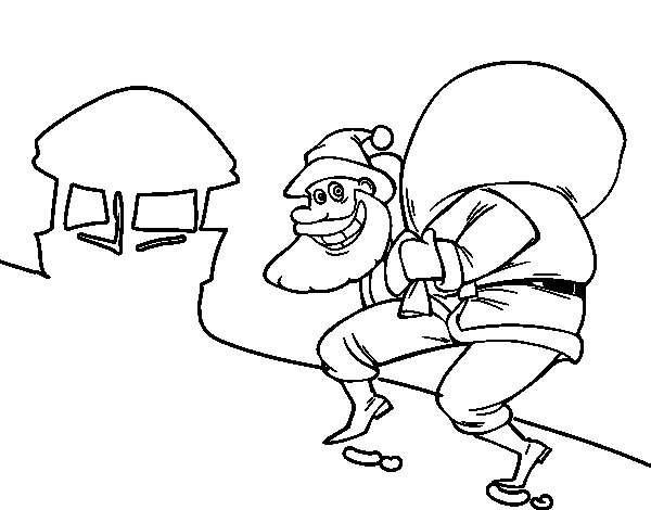 santa claus and chimney coloring page coloringcrew com