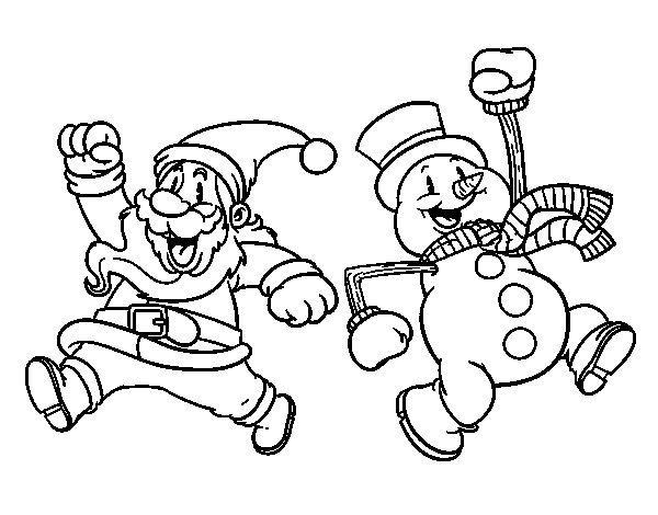 Santa Claus and snowman jumping