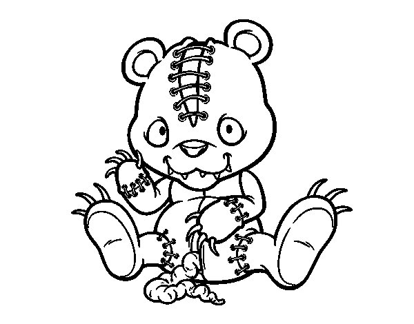 Scary Teddy Bear Coloring Page Coloringcrewcom