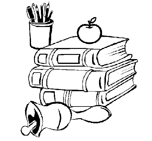 School Books Coloring Pages School Equipment Coloring Page