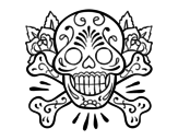 Skull tattoo coloring page
