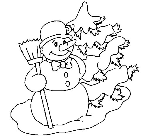Snowman and Christmas tree coloring page  Coloringcrewcom