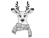 Stag with scarf coloring page