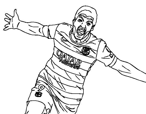 surez celebrating a goal coloring page