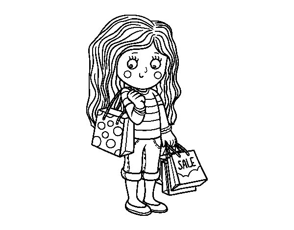 girls going shopping coloring pages | Summer girl with shopping coloring page - Coloringcrew.com