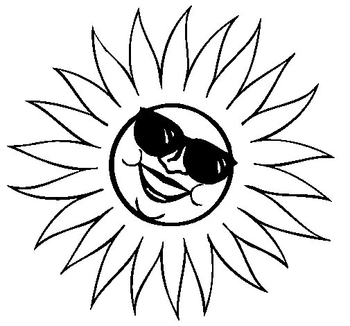 Sun With Sunglasses Coloring Page