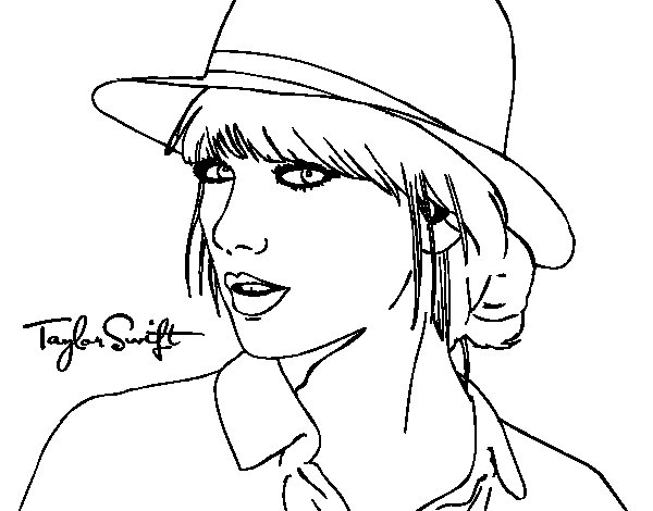 taylor swift with hat coloring page